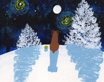 Boxer Dog Modern Folk Art PRINT of Todd Young painting Winter Star