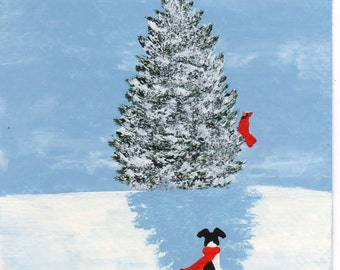 Smooth Fox Terrier Dog Modern Folk Art PRINT of Todd Young painting New Snow