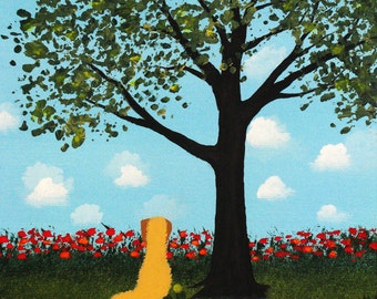 Goldendoodle Dog Modern Folk Art PRINT of Todd Young painting Summer Shade