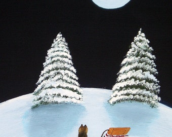 Cairn Norwich Terrier Dog Modern Folk Art PRINT of Todd Young painting Winter Moon