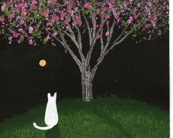 White Cat abstract Folk art PRINT of Todd Young painting NIGHT BLOSSOMS
