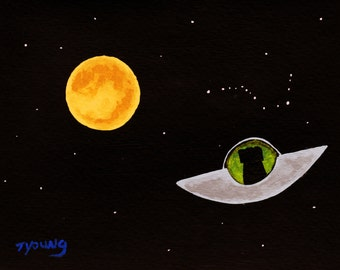 Black Lab Dog abstract Folk art PRINT of Todd Young painting SPACE TRAVEL