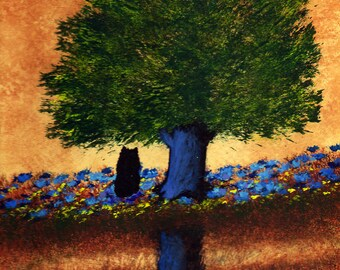 Schipperke Dog abstract Folk art PRINT of Todd Young painting By The Lake