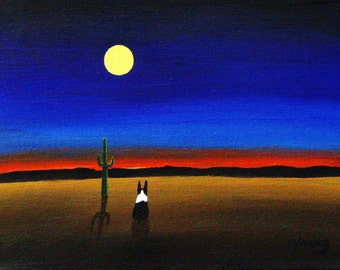 Boston Terrier Dog Art PRINT Todd Young painting DESERT NIGHT