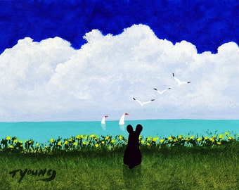 Black French Bulldog Dog Art PRINT Todd Young painting At The Beach