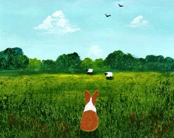 Pembroke Welsh Corgi Dog Folk Art PRINT of Todd Young painting Watching Sheep