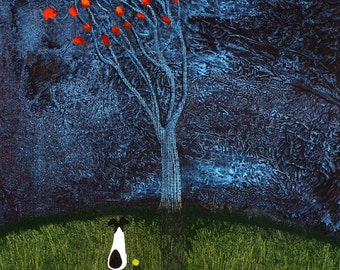 Smooth Fox Terrier Dog Folk Art print of Todd Young painting BLOWING LEAVES