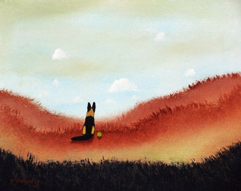 German Shepherd Dog LARGE art PRINT of Todd Young painting Coastal View