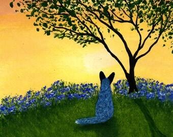 Australian Cattle Dog folk art print by Todd Young Texas Bluebonnets
