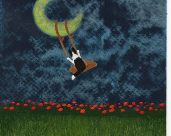 Border Collie Dog Outsider Folk Art PRINT Todd Young MOON SWING