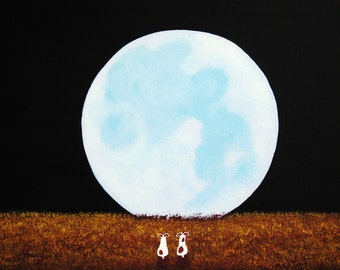 Jack Russell Terrier Dog folk Art print by Todd Young Moonlit Field