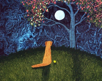 Golden Retriever Dog Folk Art PRINT Todd Young painting Spring Moon