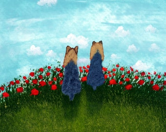 Yorkie Dog Modern folk Art PRINT Todd Young Side by Side
