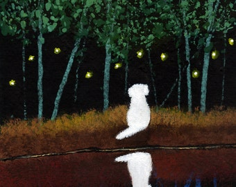 Maltese Dog Bichon Frise Shih Tzu Outsider Folk art print by Todd Young Fireflies