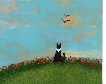 Tuxedo Black Cat folk art print by Todd Young Poppy Hill
