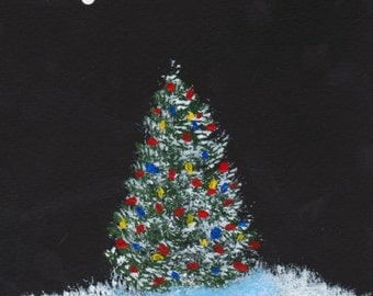 O Christmas Tree Wire Fox Terrier dog Folk Art print by Todd Young