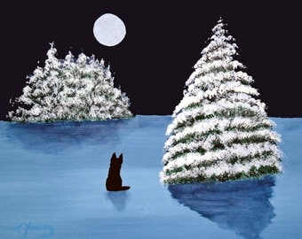 Winter Moon PRINT Black German Shepherd dog by Todd Young