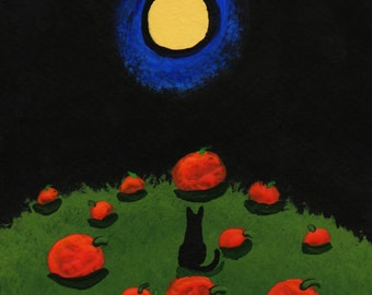 Black Cat PUMPKIN PATCH Modern Folk Art PRINT of Todd Young painting
