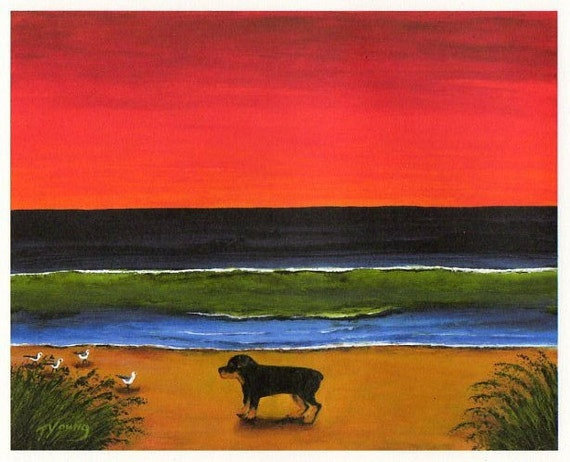 Rottweiler Dog BEACH PATROL Art Print of Todd Young painting