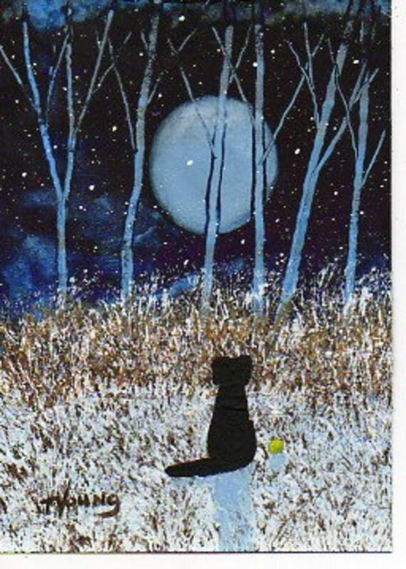 Black Lab Dog Folk Art PRINT Todd Young painting FIRST SNOW