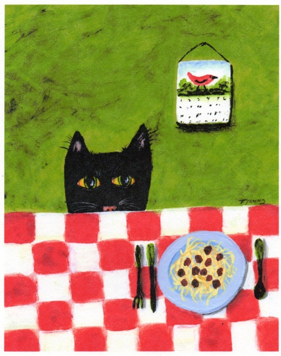 Black Cat SPAGHETTI CAT abstract folk art print by Todd Young