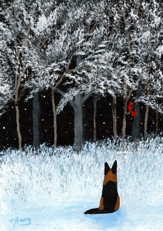German Shepherd Dog LARGE Folk art print by Todd Young WINTER CARDINAL