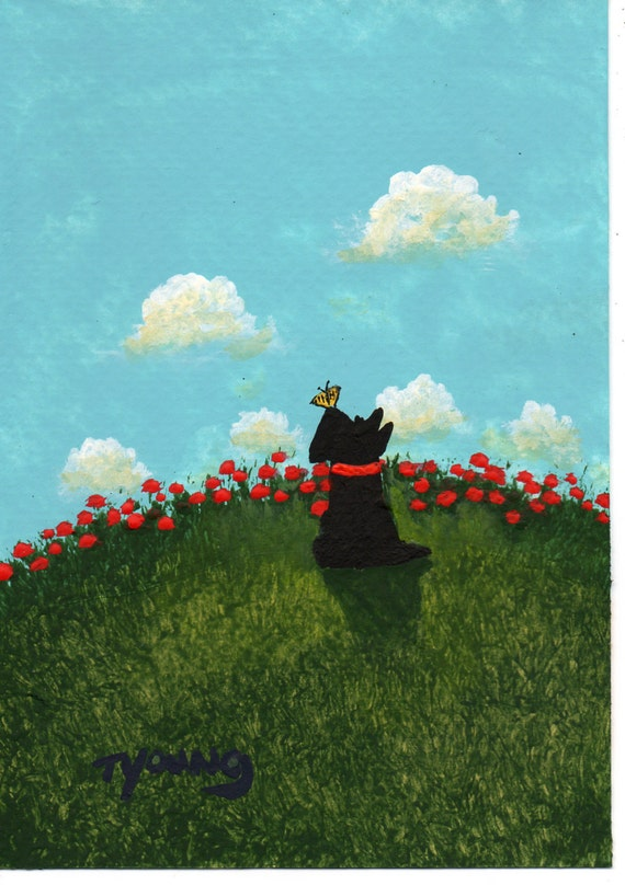 Scottie Dog Folk Art PRINT Todd Young painting Butterfly