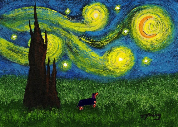 DACHSHUND dog Starry Sky Folk Art PRINT by Todd Young