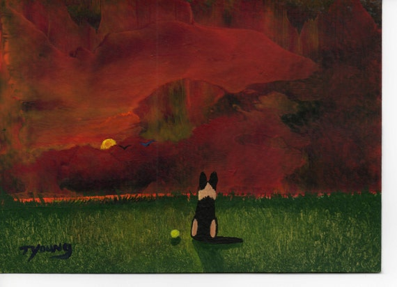 German Shepherd Dog Modern original folk art painting by Todd Young 5x7