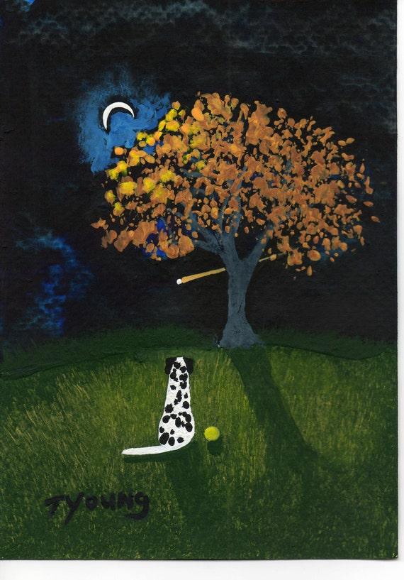 Dalmatian Dog Folk art print by Todd Young Moon Light