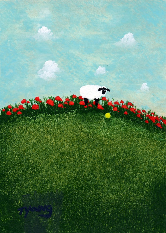 Sheep Folk Art PRINT by Todd Young painting Ball and Tulips