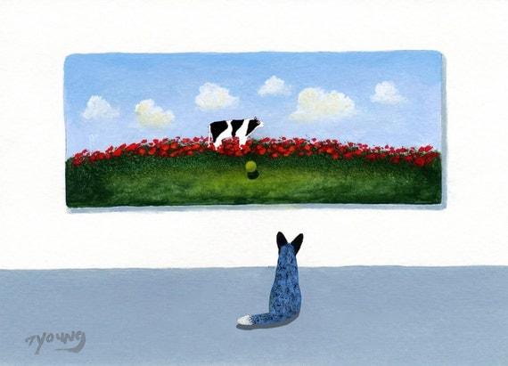 Australian Cattle Dog folk art print by Todd Young Fetch