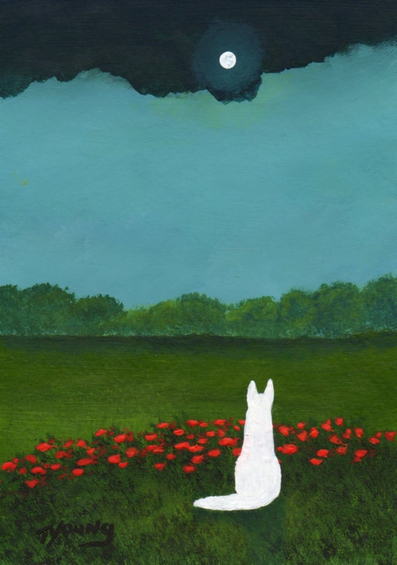 White German Shepherd Dog EVENING CLOUDS art PRINT of Todd Young painting