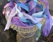 Hand Dyed Ribbon in Blues and Purples