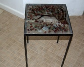 Occasional Table Japenese Garden Design in Fused Glass Zero ship contiguous USA
