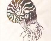 The Nautilus First Edition Linocut - Sea Creature, Cephalopod, Spiral Shell Nautilus Lino Block Print