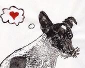 JRT Love Linocut - Lino Block Print of a Jack Russell Terrier Dog Who Thinks of Love, Heart, Dog Art, Pet Lover, JRT