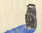Groundhog Day Linocut with Disappearing Shadow - Thermochromic Lino Block Print Groundhog's Shadow Disappears when Hot for Groundhog Day