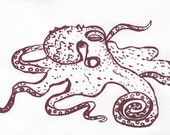 Giant Pacific Octopus Screenprint - Large Silkscreen Octopus Print in Raspberry on White