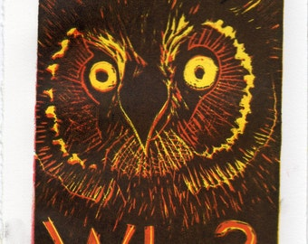 Owl Who - Reduction Linocut - Typography with Owl Lino Block Print