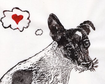 JRT Love Linocut - Lino Block Print of a Jack Russell Terrier Dog Who Thinks of Love, Heart, Dog Art, Pet Lover, JRT