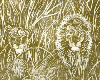 Lion and Lioness Linocut - Handprinted Lion Couple in the Savannah Lino Block Print