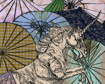 Unicorn Amongst Umbrellas VI- Multimedia - Lino Block Print Unicorn with Collaged Japanese Paper Parasols