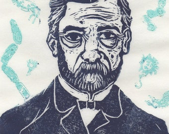 Thermochromic Linocut Louis Pasteur