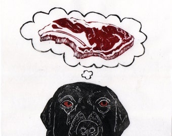 Black Lab Dreams of Meat Linocut, Lino Block Print of Black Labrador Retriever Dreaming of Prime Rib Steak, Funny Dog Illustration
