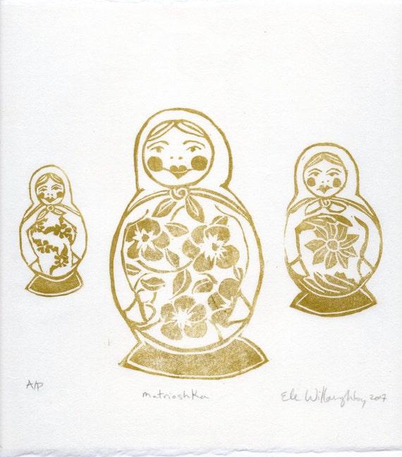 Matrioshka Mama Linocut Monoprint