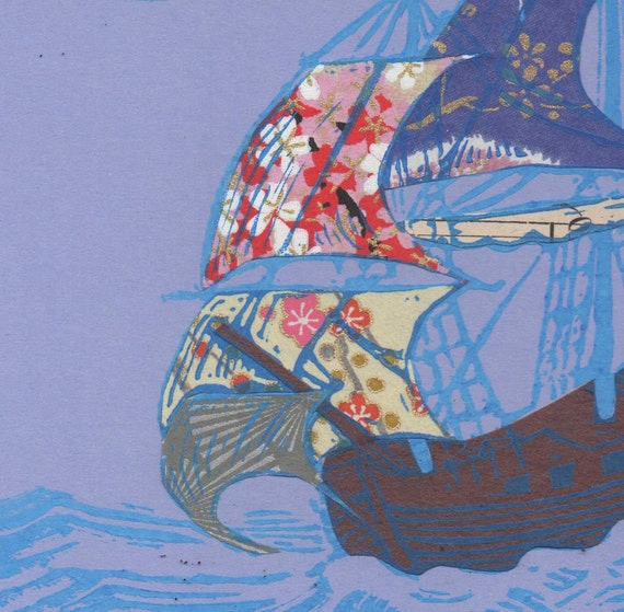 Sailing Ship II - Block Print with Mixed Papers - Lino Block Print Historic Sailing Ship with Collaged Japanese Papers