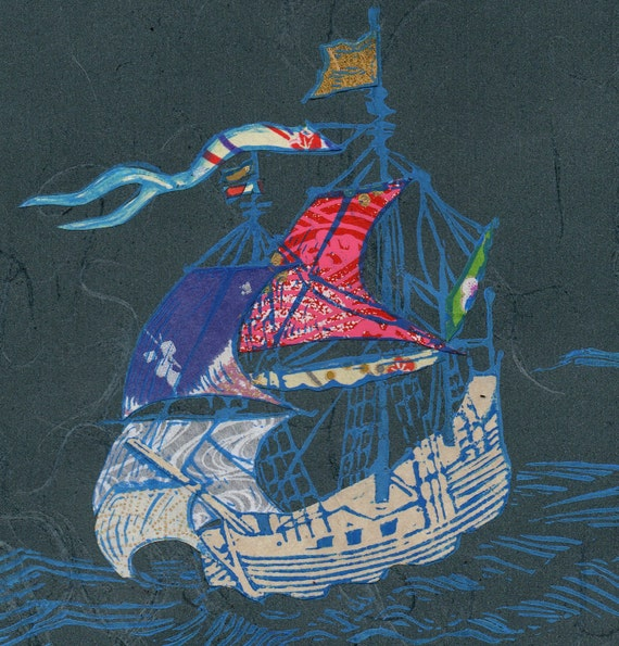Sailing Ship V - Block Print with Mixed Papers