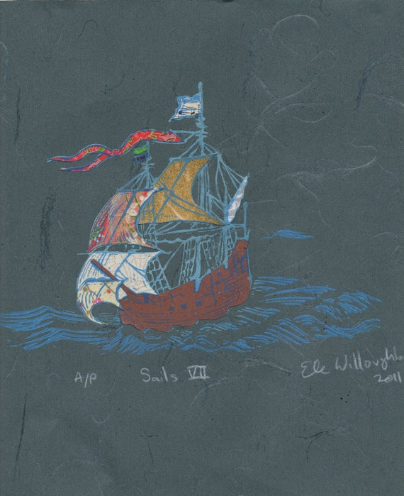 Sailing Ship VII - Block Print with Mixed Papers