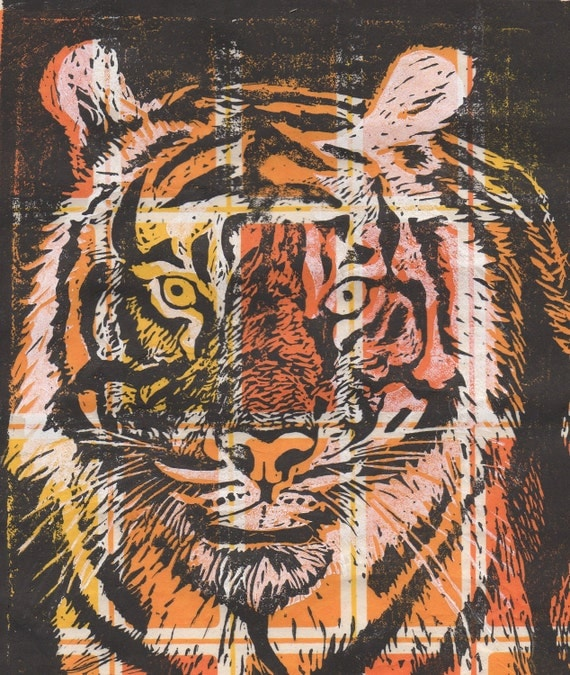 Tiger Linocut on Patterned Paper
